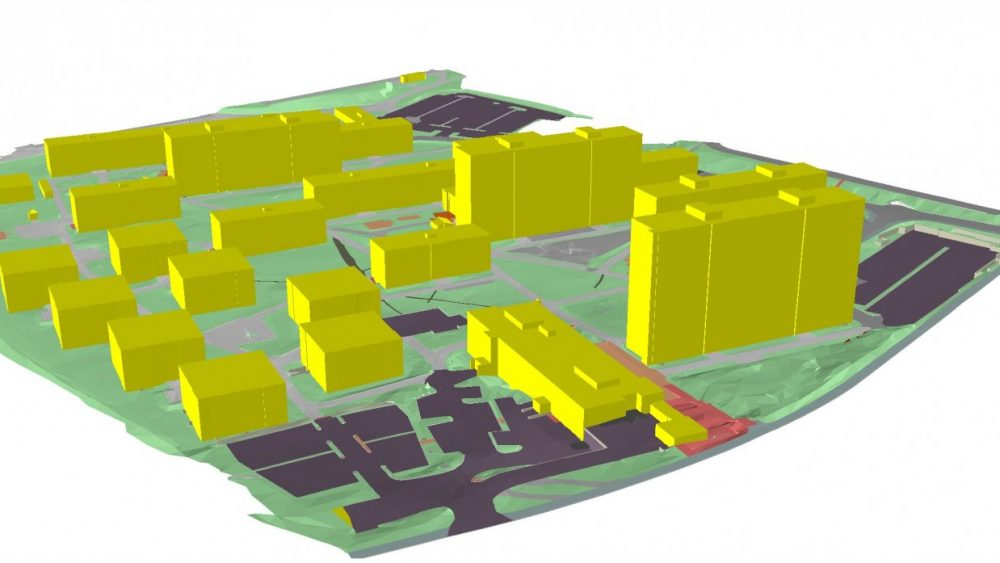 A 3D model of a commercial area created by Scan Survey