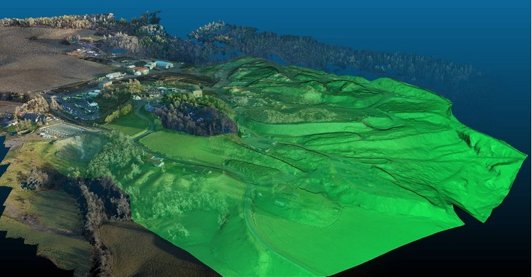 A finished terrain model of an area using data captured from a Drone.