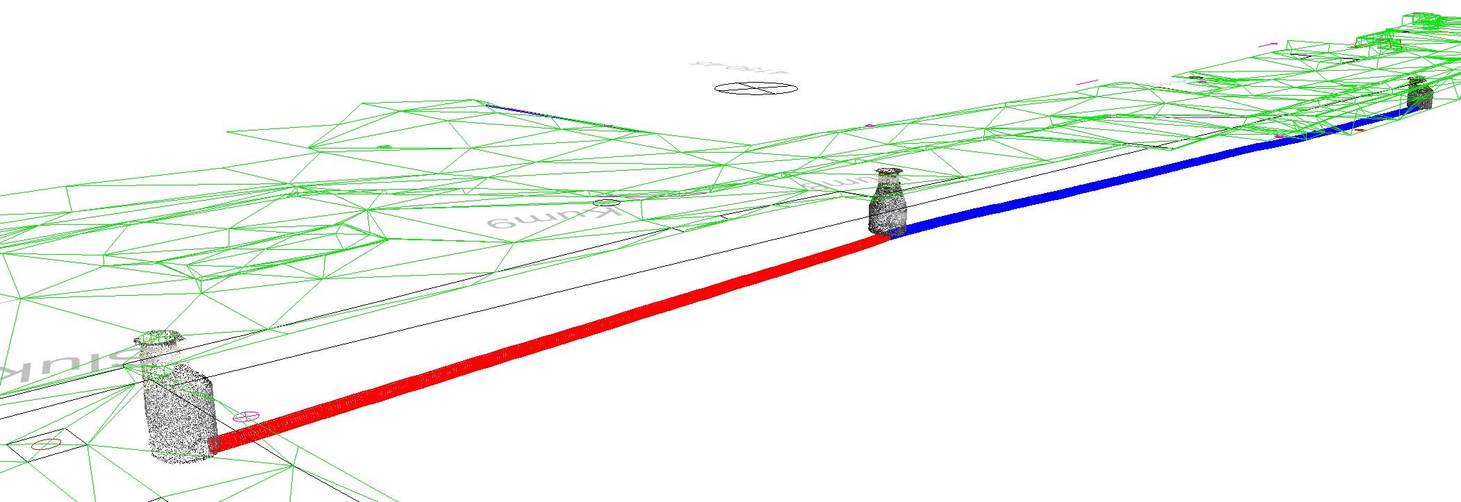 3D-rør og 3D-kum med TIN terrengmodell
