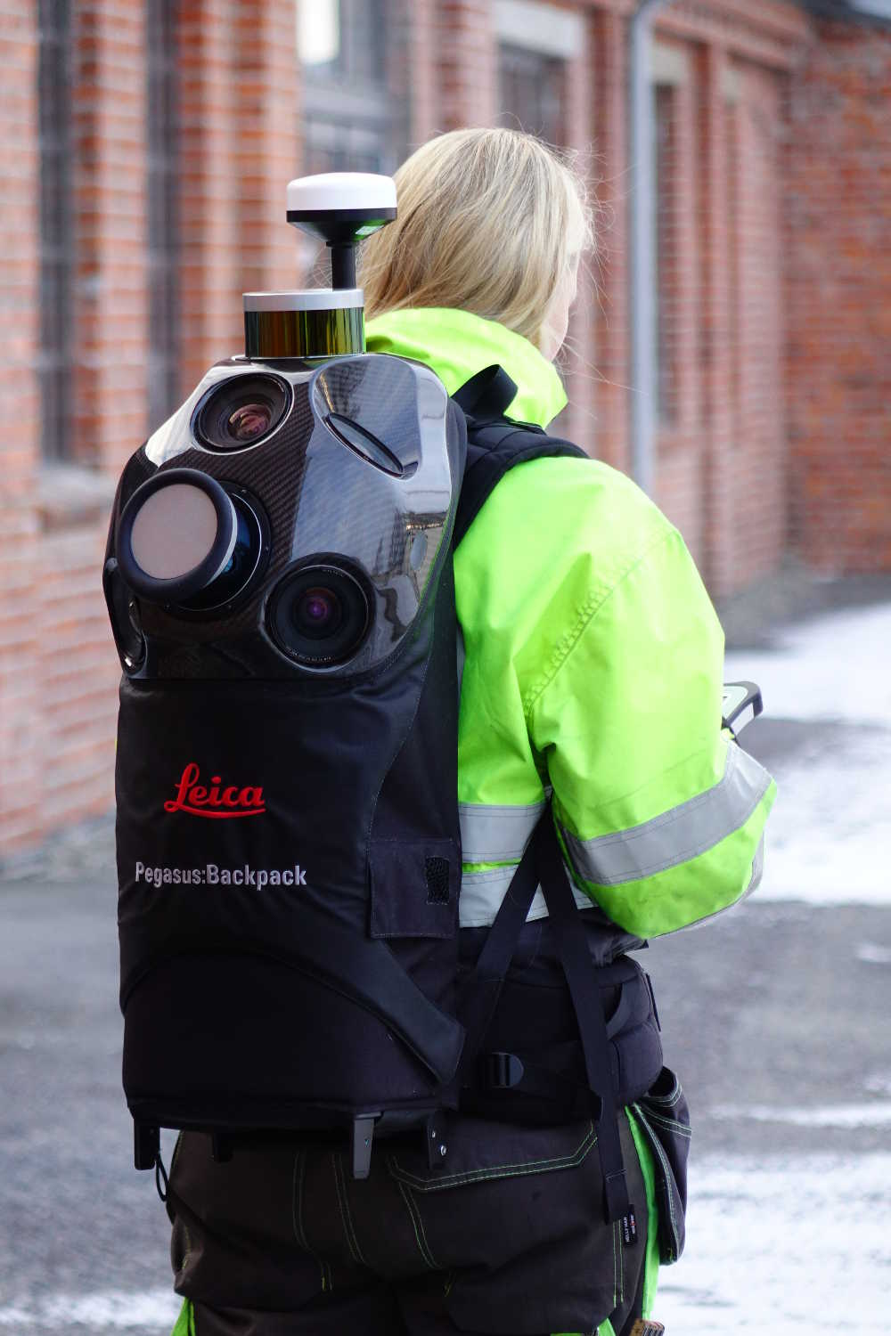 scan survey staff member using the Leica pegasus for mobile mapping