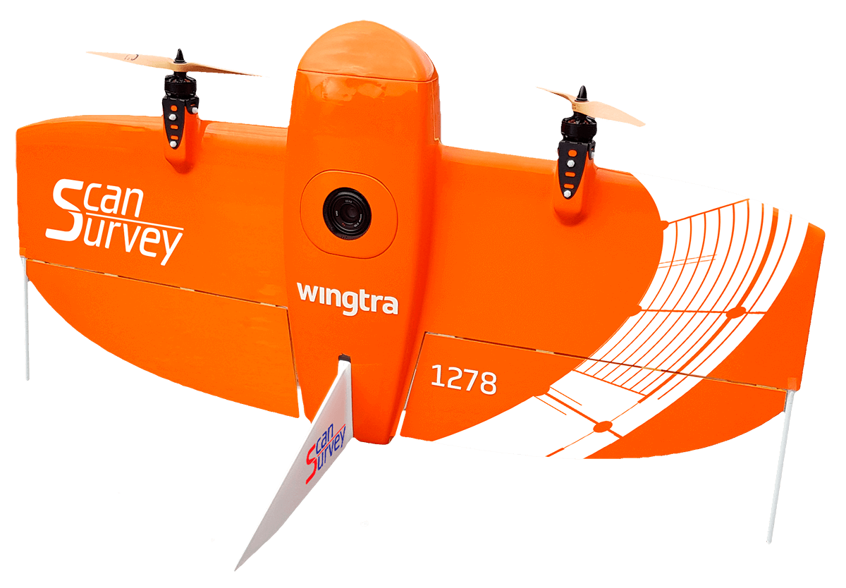 Scan surveys fixed wing drone, the Wingtra