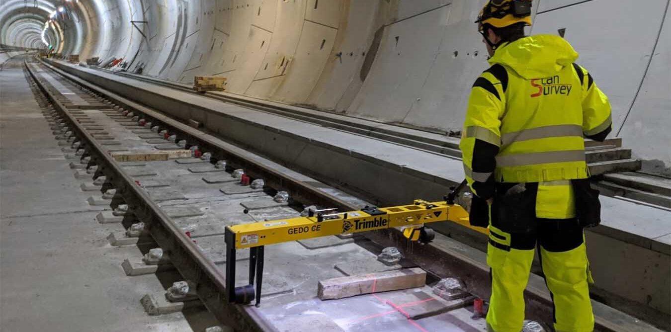 train line track measurements inside a railway tunnel